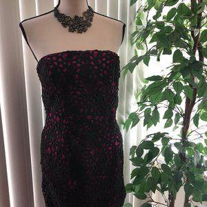 Adrianna Papell strapless dress fuchsia/Black lace